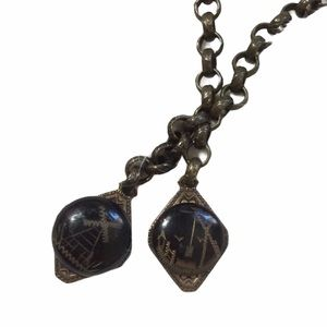 Vintage Black Onyx Stone Windmill Etched Necklace